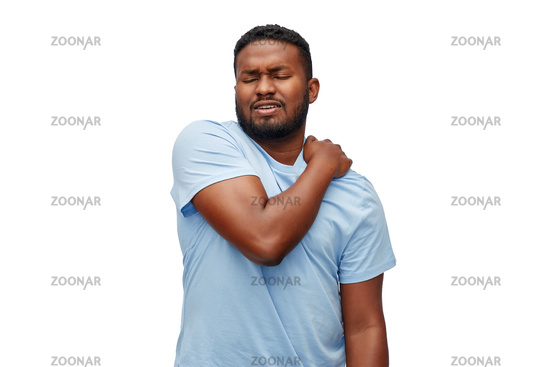 african american man suffering from shoulder pain