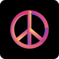 Peace, friendship, pacifism, hippie colorful gradient liquid icon.