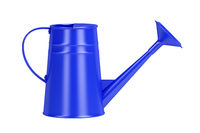 Blue watering can, side view