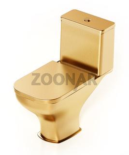 Golden toilet isolated on white background. 3D illustration