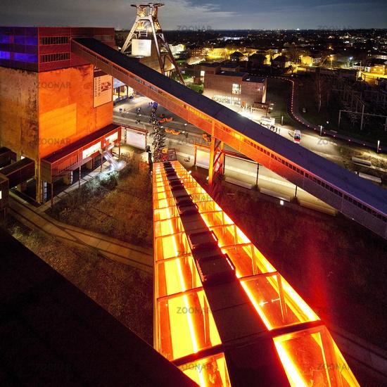 Zeche Zollverein Coal Mine Shaft XII with headframe, illuminated at night, Essen, Germany, Europe