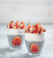chia pudding with yogurt, figs, nuts