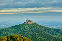 Hilltop Hohenzollern Castle on mountain top in Germany