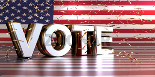 Silver Word Vote on the American flag with shiny confetti, American presidential election concept.