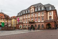 Town Hall with Central Market Place of City Heidelberg, Baden-Wuerttemberg, Germany. Europe