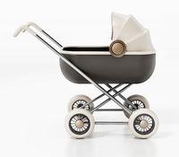 Retro baby stroller isolated on white background. 3D illustration