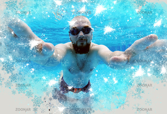 Middle aged man wear googles and swimming trunks submerged in water enjoy summer vacations swimming in pool. Active lifestyle and sport activity concept. Digitally generated image, digital art