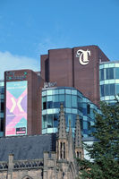 city exchange offices and trinity shopping center viewed from park row in the center of leeds
