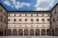 Rocchetta courtyard in Sforzesco Castle in Milan