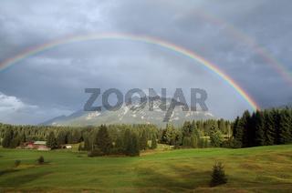 double rainbown over Bavarian Alps