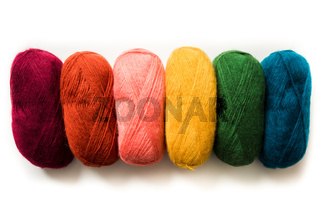 The bundles of yarn in bright trendy colors