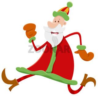 running Santa Claus cartoon character on Christmas time