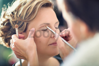 Beauty woman is left in cosmetologist depicting