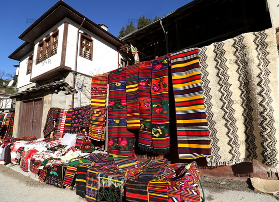 Colorful rugs in the Rhodope village of Shiroka Luka, Bulgaria
