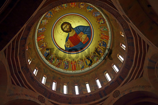 Painting On The temple of Saint Hovhannes church in Abovyan city.