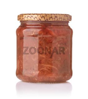Jar of homemade preserved veggie ratatouille
