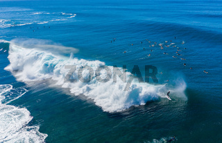 Many surfers in the water at Banzai Pipeline beach on North Shore of Oahu