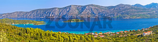 Island of Korcula and Peljesac peninsula channel panoramic view