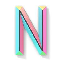 Neon color bright font Letter N 3D