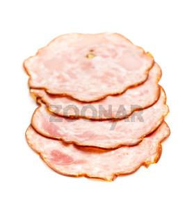Sliced salami sausage. Smoked ham.