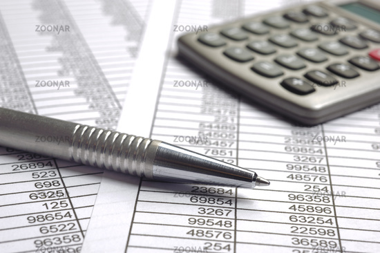 finance calculation with chart and pen