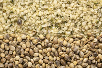 hemp seeds and hearts background