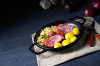boiled sauerkraut and delicious saddle of pork