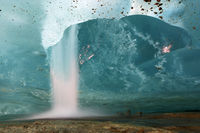 Waterfall in a Glacier Hole