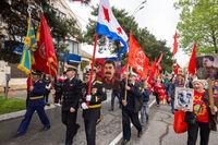 Anapa, Russia - May 9, 2019: Participants in the parade parade shout
