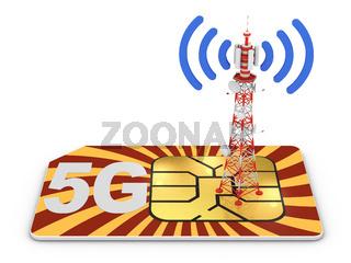 Sim card and telecommunication tower