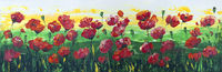 Wild red poppies panel