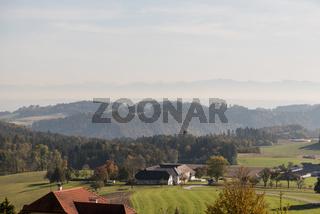 idyllische Fernsicht im Oberen Donautal - Austria, bäuerliches Gebiet