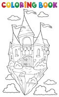 Coloring book flying castle theme 1