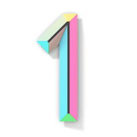 Neon color bright font Number 1 ONE 3D