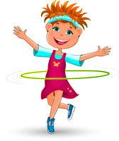 Joyful little girl twists a hoop