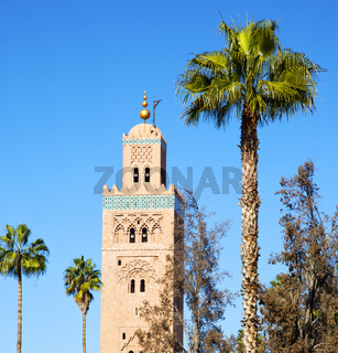muslim the history  symbol  in morocco  africa  minaret religion and  blue    sky
