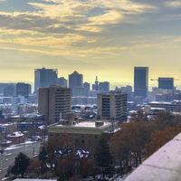 Square View over Salt Lake City, Utah in winter