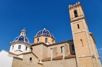 Our Lady of Solace Church with blue tiled domes and bell tower in Altea, Costa Blanca, Spain