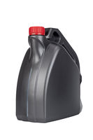 Gray plastic canister with engine oil