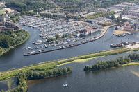 Aerial view Dutch village Huizen at lake Gooimeer with marina