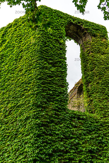 An old Monastry with green walls.
