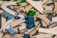 The development of children in kindergarten. Elements of a wooden railway. Ecological toys.