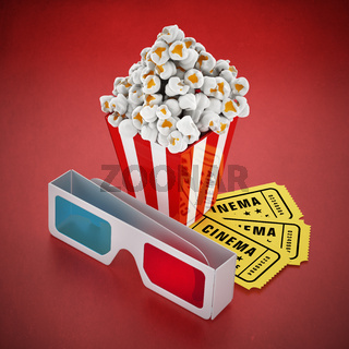 Popcorn, 3D glasses and cinema tickets on red background
