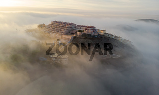 Aerial view La Manga during sunrise. Spain