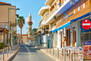 Street with minaret in Limassol