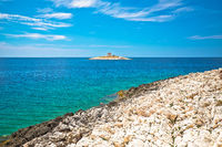 Pokonji Dol Lighthouse in Hvar island archipelago view
