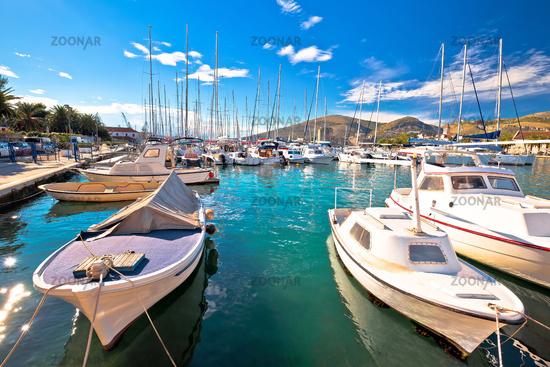 Trogir. Town of Trogir sailing turquoise harbor view