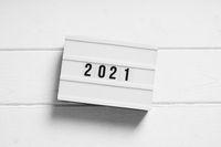 year 2021 on light box sign