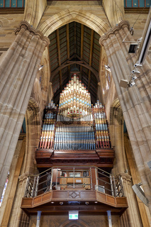 The pipe organ inside St. Andrew's Cathedral. Sydney