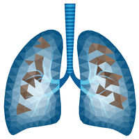 Abstract polygonal image of sick lungs - vector